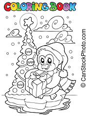 pingüim, tinja livro, presente, segurando