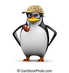 pingüino, 3d, sherlock