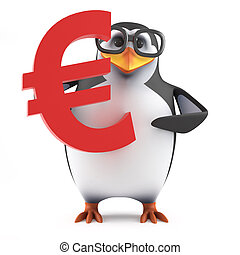 pingüino, académico, símbolo, asideros, moneda, 3d, euro