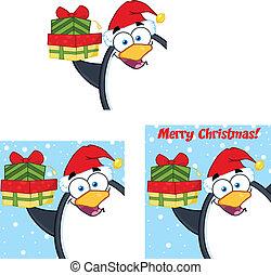 pingüino, caricatura, posturas, 4, colección