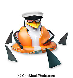 pingüino, sombrero, amidst, bajío, marinero, tiburones, pobre, ilustración, marineros, flotar, 3d