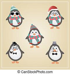 pingüinos, hipster, invierno, ilustración