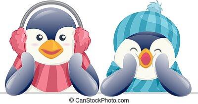 pingüins, borda, mascote