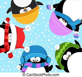 pingüins, celebrando, inverno