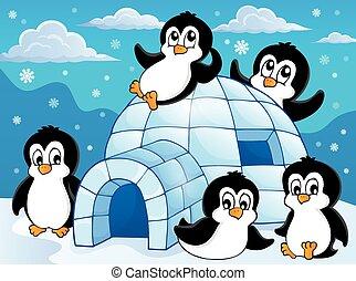 pingüins, tema, igloo