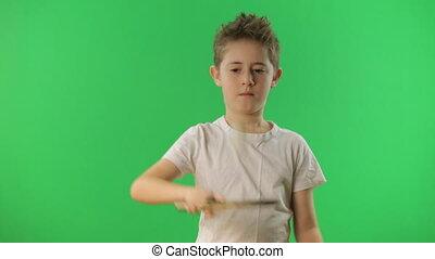 ping, ball., pong, jongleries, vert, écran, gosse