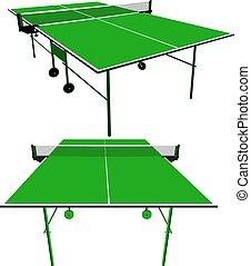 ping, ilustración, vector, verde, tennis., tabla, pong