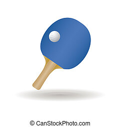 abstract ping pong racket and ball with shadow effect on white background