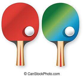 ping-pong, deux, raquettes