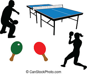 Ping pong equipment and players silhouette - vector