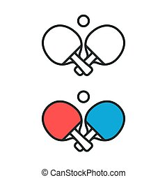 Ping pong logo - Two crossed ping pong rackets and ball...