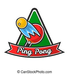 Ping pong logotype with red racket and yellow ball - Ping...