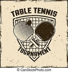 Ping pong or table tennis vintage vector emblem