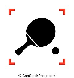 Ping pong paddle with ball. Black icon in focus corners on white