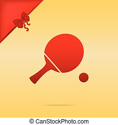 Ping pong paddle with ball. Cristmas design red icon on gold background.