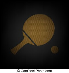 Ping pong paddle with ball. Icon as grid of small orange light bulb in darkness. Illustration.