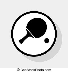Ping pong paddle with ball. Vector. Flat black icon in white circle with shadow at gray background.