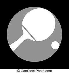 Ping pong paddle with ball. White icon in gray circle at black b