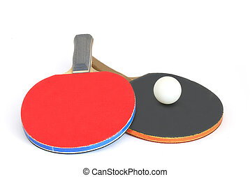 paddles for table tennis and a ball