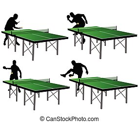 ping pong players with green table vector illustration