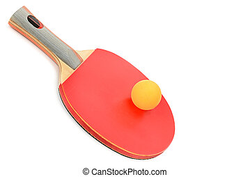 Table tennis equipment isolated on white background.