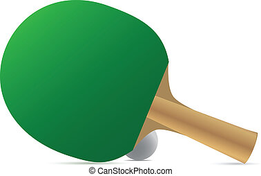 Ping pong racket and ball. Vector illustration.