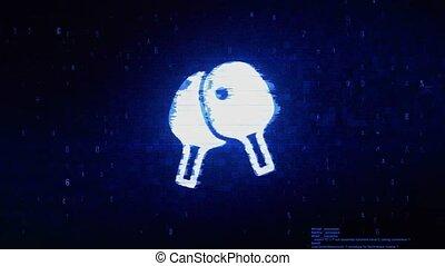 Ping Pong, racket, table tennis Symbol Digital Pixel Noise Error Animation.