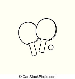 Ping-pong rackets and ball hand drawn outline doodle icon.