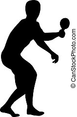 ping-pong, silhouette, joueur