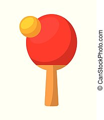 ping pong sport - ping pong ball and racket over white...