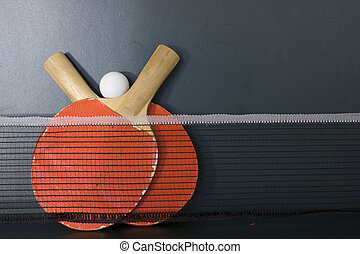 Ping Pong - Table, raquets and ball of pingpong sport
