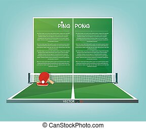 Ping Pong, tennis table vector sport background