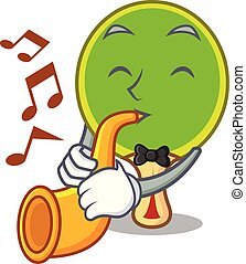 ping, raquette, pong, trompette, dessin animé, mascotte