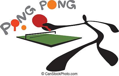 ping, tenni, tabla, sombra, pong, hombre