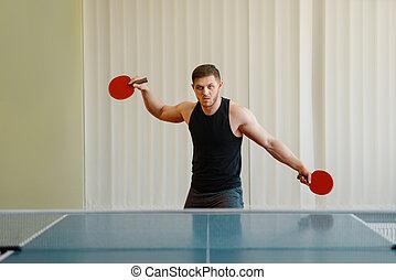 ping, twee, rackets, binnen, pong, spelend, man