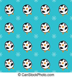 pingouins, flocons, seamless, fond, neige