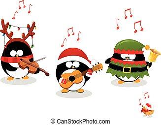 pingouins, musique, jouer, noël
