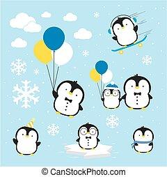 pingouins, vecteur, mignon