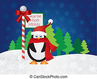 pinguin, an, santa, halt, hier, zeichen
