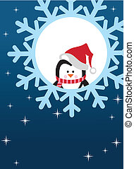 pinguin, auf, schneeflocke, hintergrund