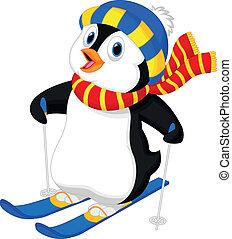 pinguin, karikatur, ski fahrend