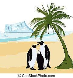 pinguin, sommer.eps