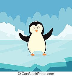 Pinguin Standing on Ice Flat Vector
