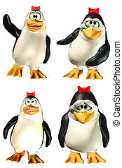 pinguin, weibliche , satz