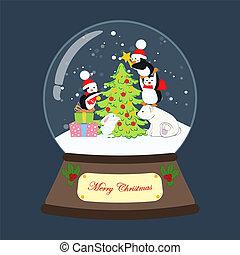 pinguini, globo, neve, illustrazione, vettore, orso, natale