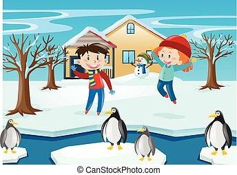 pinguino, bambini, scena inverno