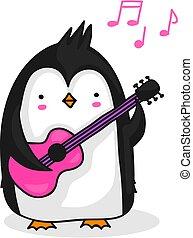 pinguino, chitarra esegue