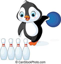 pinguino, giochi, bowling