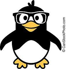 pinguino, hipster, cartone animato, occhiali