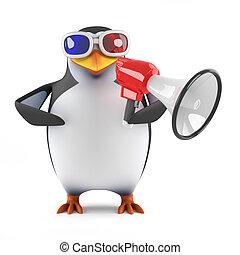 pinguino, megafono, occhiali, 3d